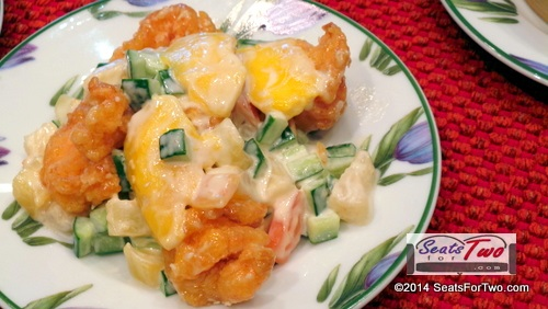 Sauteed Shrimp Salad w/fresh mango & cucumber