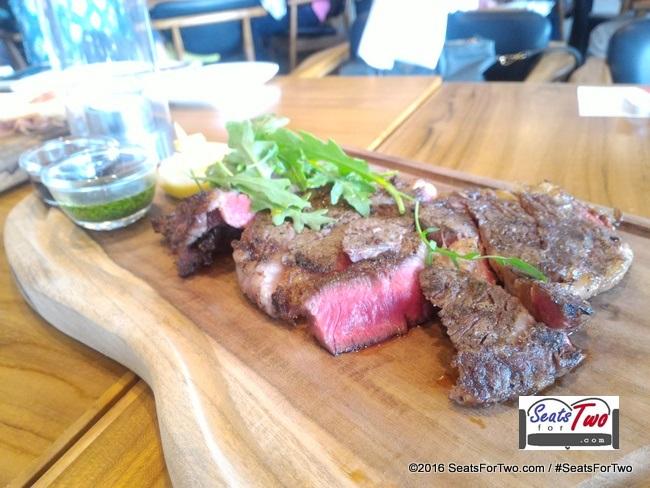 Tagliata di Manzo Beef Ribeye Steak with Basil Sauce and Parmesan Cheese